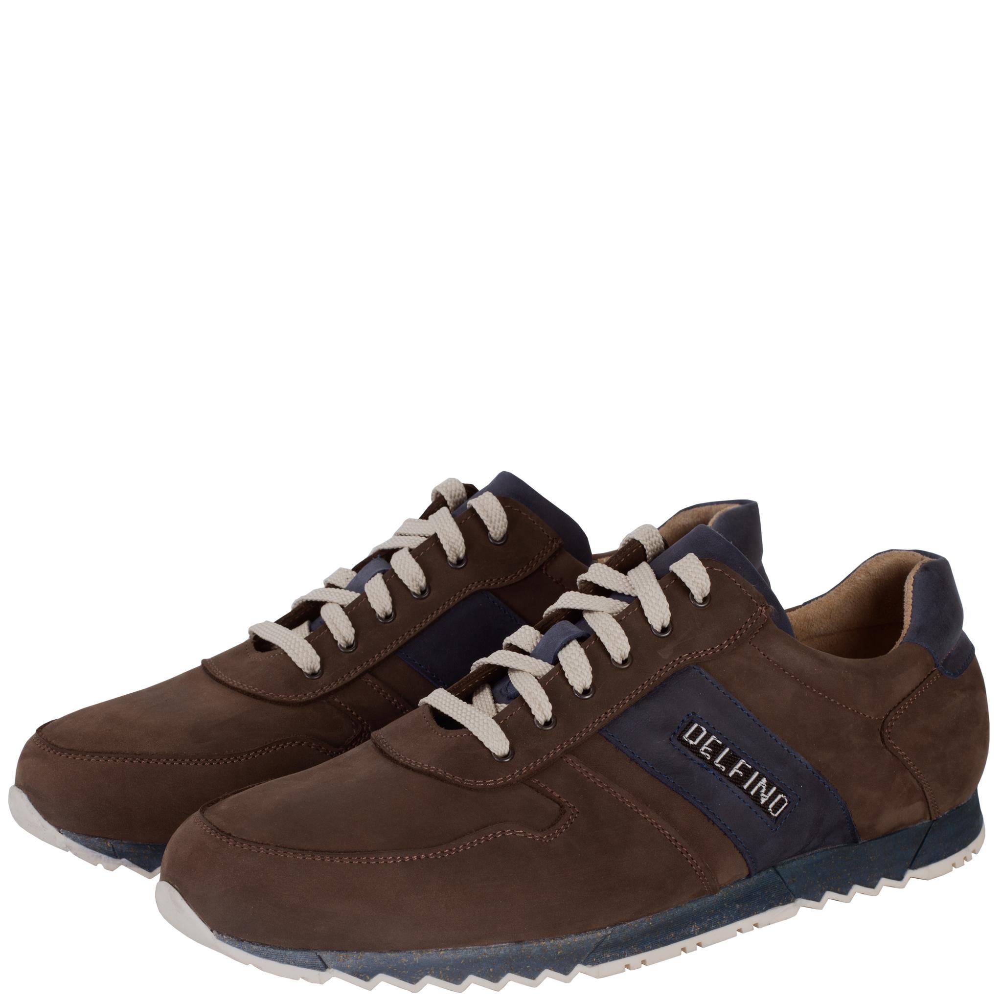 701396 полуботинки мужские коричнево-синие больших размеров марки Делфино