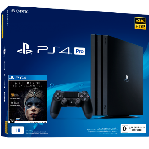 Sony PlayStation 4 Pro Black 1Tб + диск Hellblade: Senua's Sacrifice