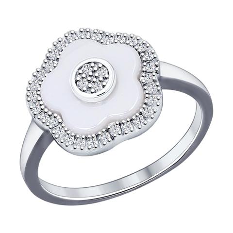 94011621- Кольцо из серебра с белой керамикой и фианитами