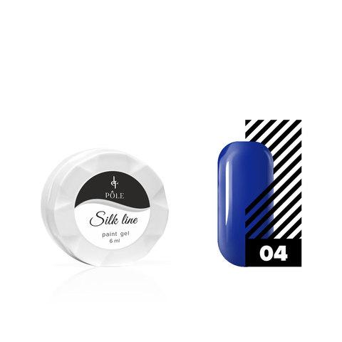 Гель-краска для тонких линий POLE Silk line №04 синяя (6 мл.)