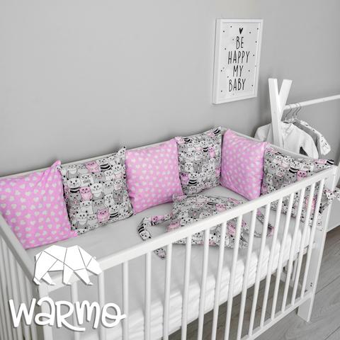 Набір бортиків-подушок в ліжечко 30x30см РОЖЕВІ КОТИКИ