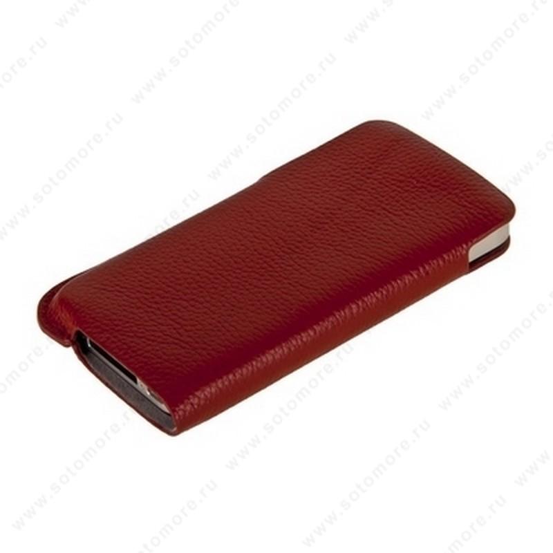 Чехол-пенал кармашек кожаный Fashion для iPhone 4s/ 4 кармашек красный