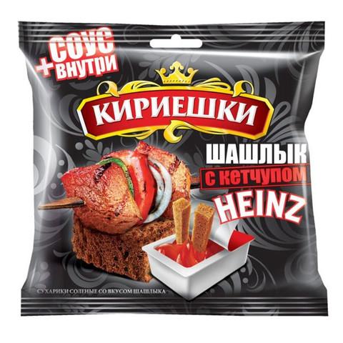 Сухарики Кириешки ржаные шашлык + кетчуп 60г+25г