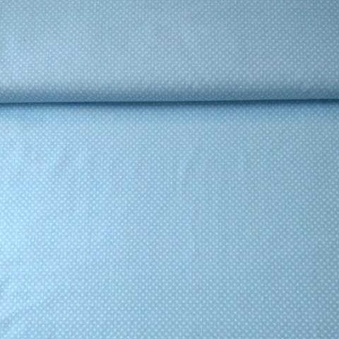 Ткань хлопковая белый горошек на голубом, отрез 50*80 см