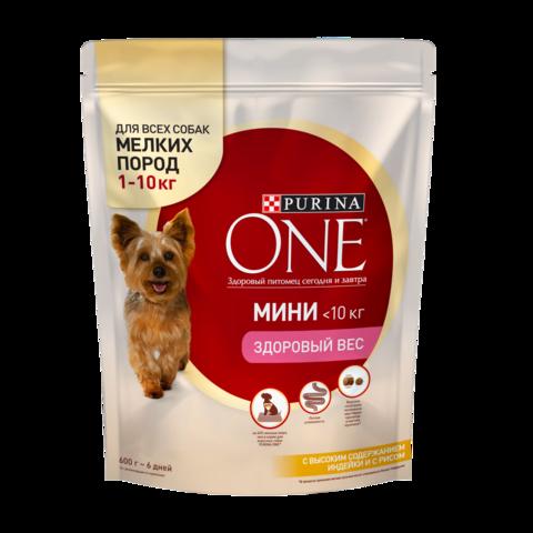 Purina One Мини Здоровый вес Сухой корм для собак мелких пород Индейка и Рис