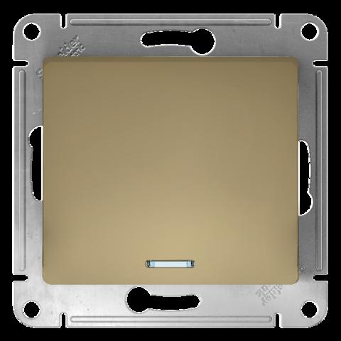 Выключатель одноклавишный с подсветкой, 10АХ. Цвет Титан. Schneider Electric Glossa. GSL000413