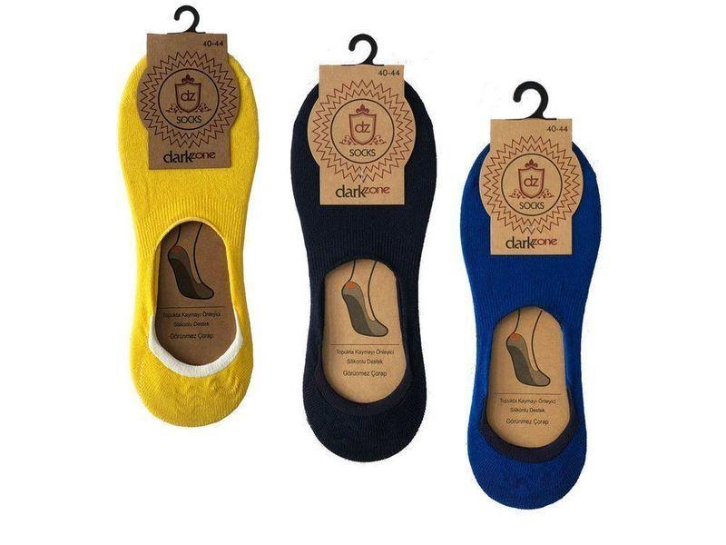 Носки-невидимки мужские - набор из 3 пар (желтые, синие, темно-синие) DARKZONE DZCP3005