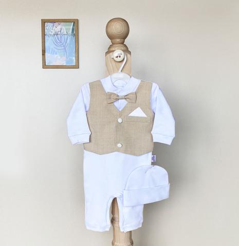 Нарядный набор на выписку и крестины новорожденных Джентльмен (беж)