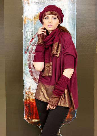 Фото бордовые рукава с золотистыми манжетами - Рукава Т807-025 (1)