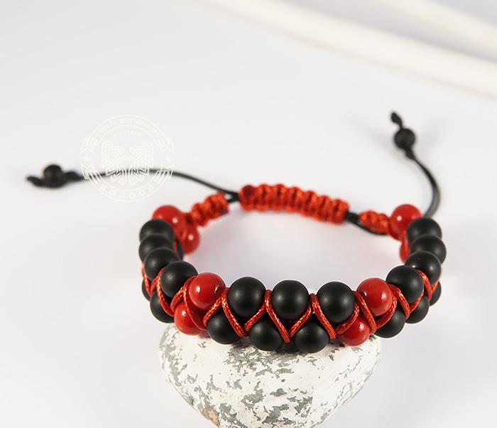 BS713 Двойная мужская шамбала красного цвета из коралла. «Boroda Design» фото 05