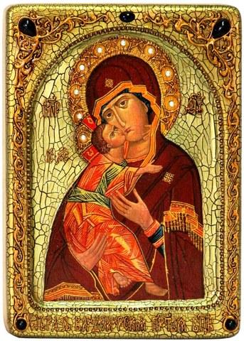 Инкрустированная живописная икона Образ Божией Матери Владимирской 29х21см на натуральном кипарисе в подарочной коробке