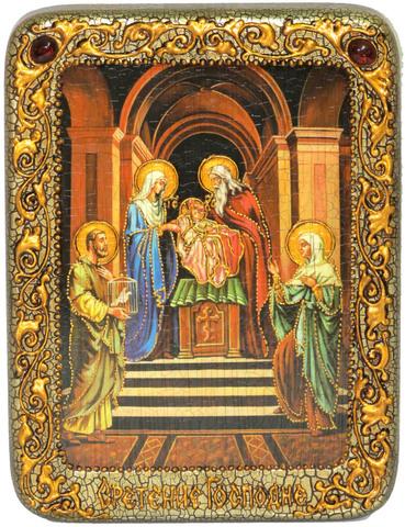 Инкрустированная икона Сретение Господа нашего Иисуса Христа 20х15см на натуральном дереве, в подарочной коробке