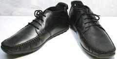 Черные кожаные мокасины мужские Ikoc 112-1Black