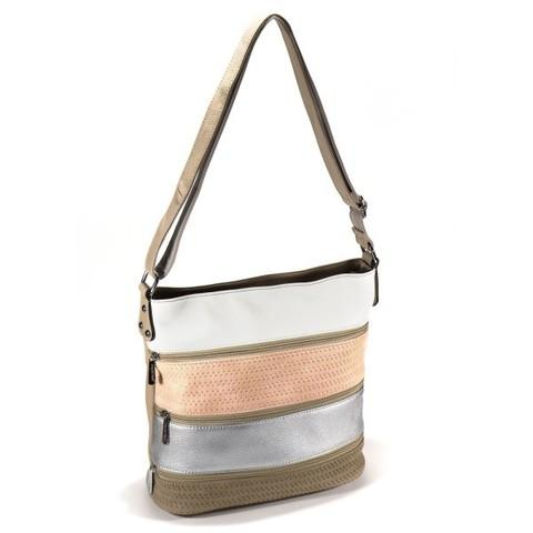 Бежевая сумка с цветными вставками