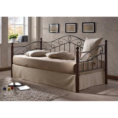Кровать-кушетка ГЛЭДИС Melis односпальная металлическая с деревянными ножками 90х200 темный орех