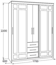 Шкаф-купе «Мираж-4» (молочный дуб/венге), Фант-мебель