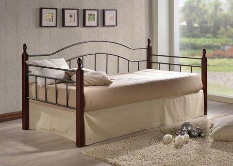 Кровать-кушетка Ника односпальная металлическая с деревянными ножками 90х200 темный орех