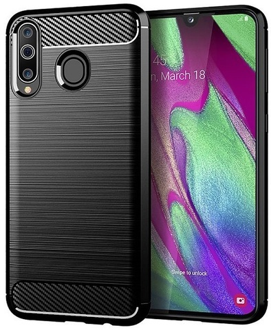 Чехол Samsung Galaxy A40S (Galaxy M30) цвет Black (черный), серия Carbon, Caseport