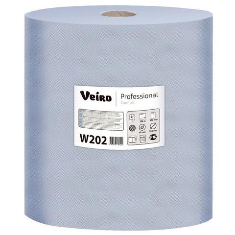 Протирочная бумага в рулонах с центральной вытяжкой Veiro Professional W202 W2 синяя (2 рулона по 350 метров)