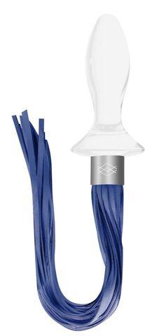 Белая анальная пробка Tail с синими хвостами