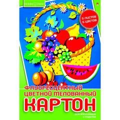 Картон цветной Альт (А4, 5 листов, 5 цветов, мелованный, флюоресцентный)