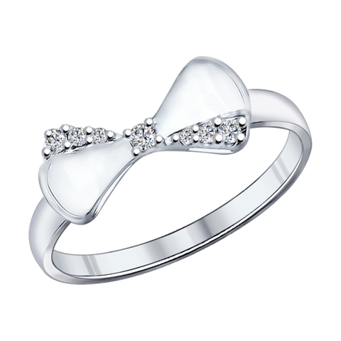 94011887- Кольцо c Бантиком из серебра с фианитами