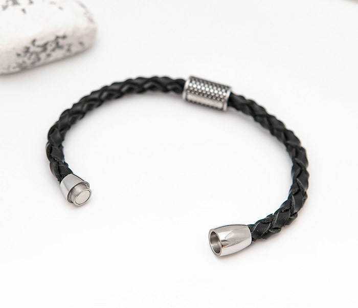 BL808-1 Мужской браслет из кожи со стальным цилиндром фото 02