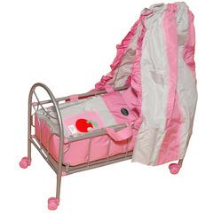 Gulliver Кроватка на колесиках для куклы (розово-серебристая) со светящимся логотипом (548-2)