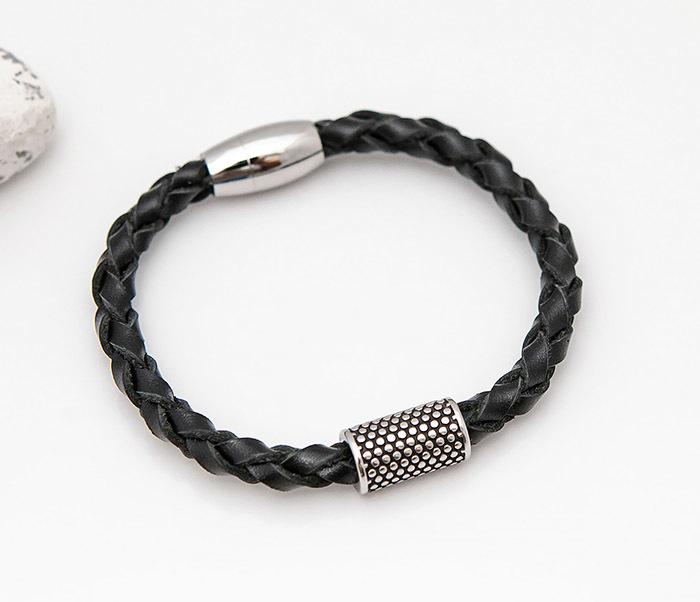 BL808-1 Мужской браслет из кожи со стальным цилиндром фото 03