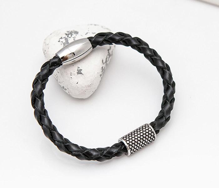 BL808-1 Мужской браслет из кожи со стальным цилиндром фото 04