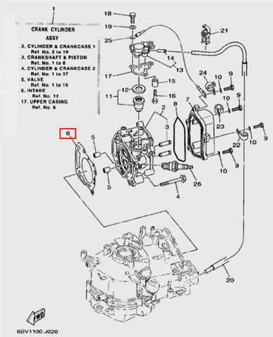 Прокладка ГБЦ для лодочного мотора F5 Sea-PRO(2-6)