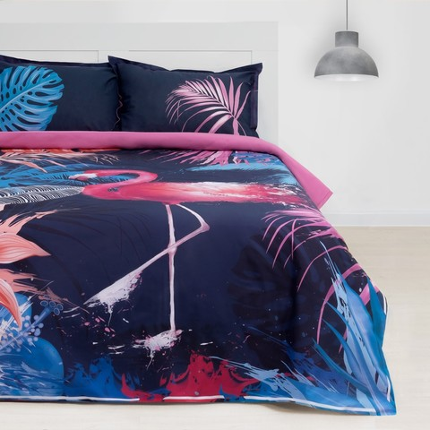 2-Спальное постельное белье ранфорс Фламинго