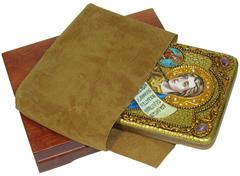 Инкрустированная Икона Преподобный Роман Сладкопевец 20х15см на натуральном дереве, в подарочной коробке
