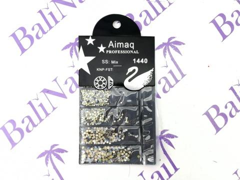 Стразы Aimaq PROFESSIONAL (белый с голубым) MIX, 1440 шт с подложкой
