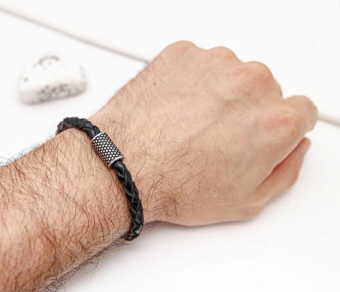 BL808-1 Мужской браслет из кожи со стальным цилиндром фото 07