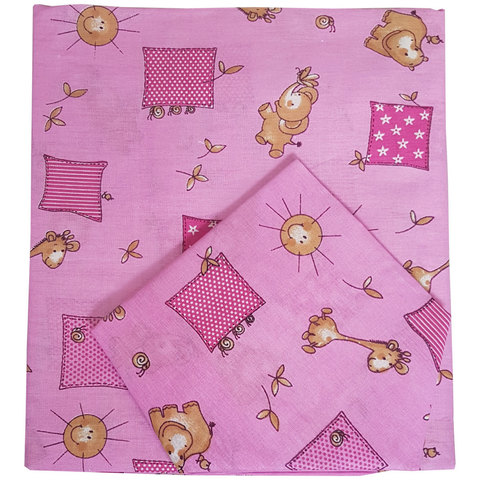 Папитто. Комплект постельного белья для новорожденных из бязи Жирафики, розовый
