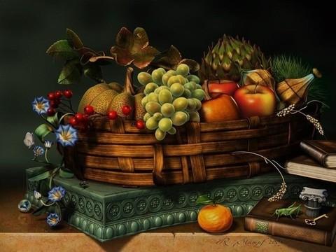 Алмазная Мозаика 40x50 Изысканный натюрморт с фруктами (арт. S501)
