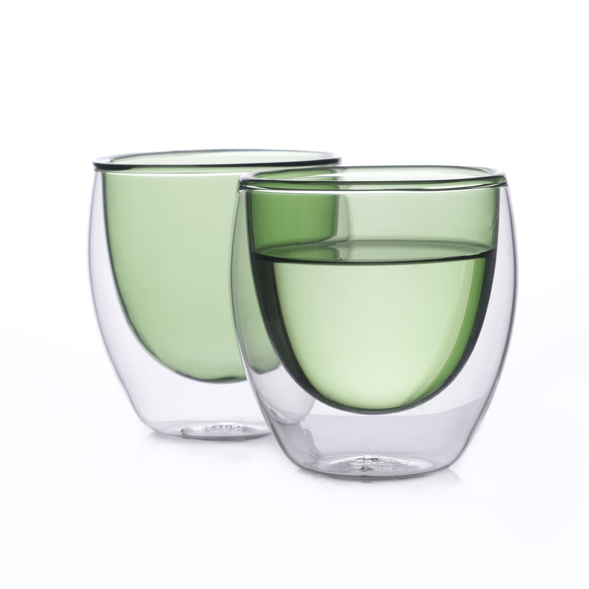 Наборы-Акции Набор стаканов из двойного стекла зеленого цвета 250мл, 2 шт. зеленый3.jpg