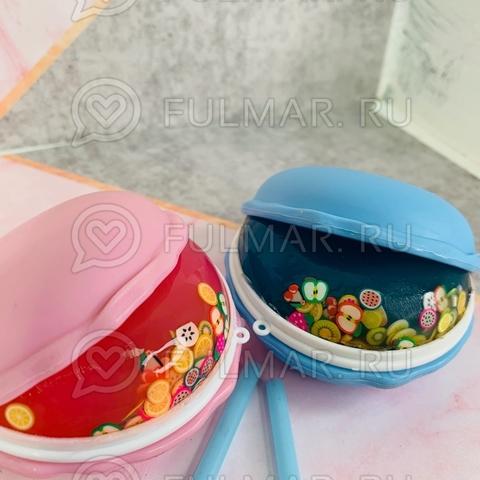 Набор Слаймы антистресс макаронс внутри с наполнением фруктами Macarons 2 штуки Розовый и Голубой
