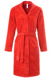 Красный махровый халат с велюром Taubert