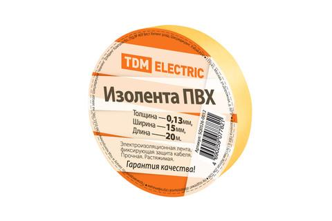 Изолента ПВХ 0,13*15мм Желтая 20м TDM