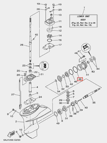 Кольцо большое стакана редуктора для лодочного мотора F20 Sea-PRO (23-46)