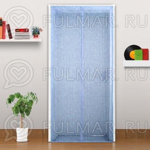 Дверная антимоскитная сетка на магнитных полосах и магнитах 90х210 см Голубая