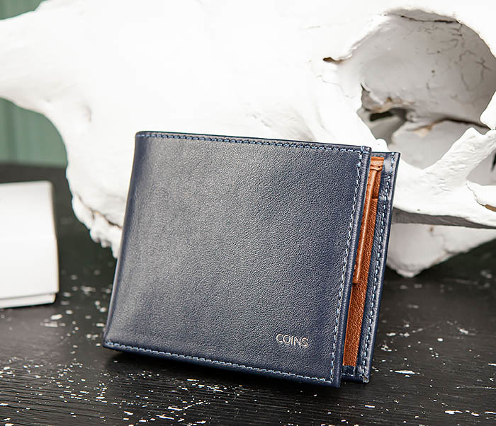 WL325-3 Мужское портмоне с монетницей из кожи синего цвета, «Moriz»
