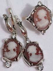 Камея (кольцо + серьги из серебра)