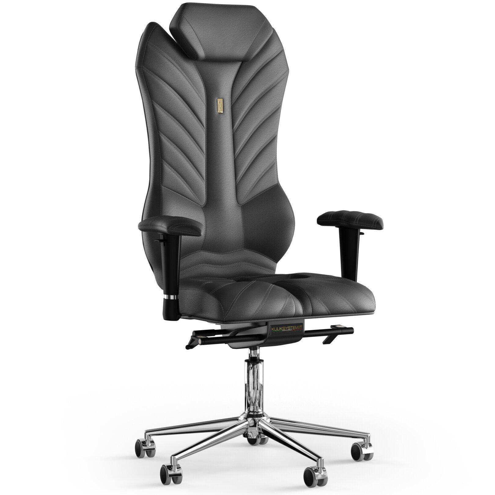 Кресло KULIK SYSTEM MONARCH Кожа с подголовником со строчкой