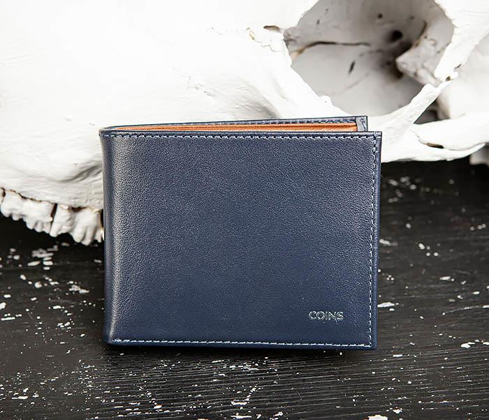 WL325-3 Мужское портмоне с монетницей из кожи синего цвета, «Moriz» фото 02