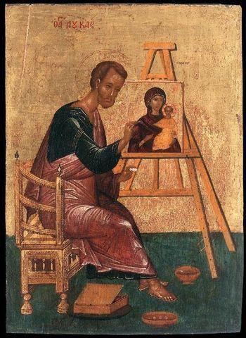 Икона святой апостол Лука с Иконой Божией Матери на дереве на левкасе мастерская Иконный Дом