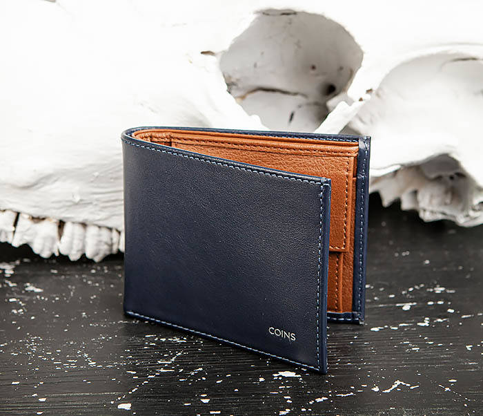 WL325-3 Мужское портмоне с монетницей из кожи синего цвета, «Moriz» фото 03