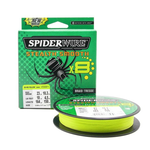 Плетеная леска Spiderwire Stealth Smooth 8 Braid Ярко-желтая 150м 0,11мм 10,3кг